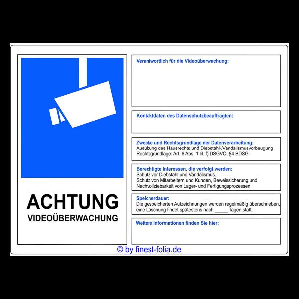 DSGVO Hinweisschild Videoüberwachung 15x10